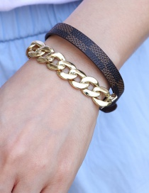 Fashion Coffee Color Checkerboard Multi-loop Pu Leather Printing Thick Chain Multi-function Bracelet