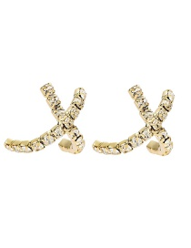 Fashion Gold Color En Alloy Cross Earrings With Diamond Letters