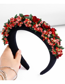 Fashion Red Wine Flower Sponge Wide-brimmed Fabric Hit Color Headband