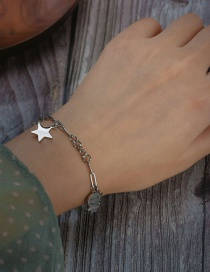 Fashion Silver Five-pointed Star Smiley Face Portrait Stainless Steel Bracelet
