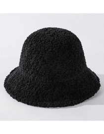 Fashion Black Wool Fleece Solid Color Knitted Fisherman Hat