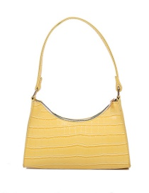 Fashion Yellow Crocodile Print Solid Color One-shoulder Armpit Bag