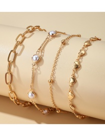 Fashion Gold Color Alloy Round Bead Love Pearl Anklet Set