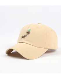 Fashion Yellow Pineapple Embroidered Crooked Cap