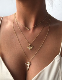 Fashion Gold Color Alloy Multilayer Angel Love Necklace