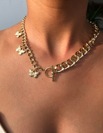 Fashion Gold Color Alloy Chain Butterfly Necklace