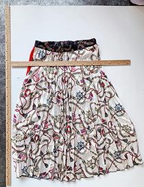 Fashion Beige Chain Print Geometric Chain Print Skirt