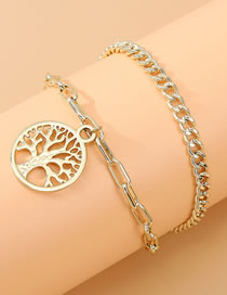 Fashion Golden Round Life Tree Hollow Alloy Double Anklet