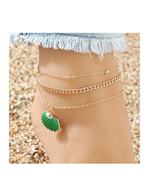 Fashion Green Shell Bead Chain Alloy Anklet Set