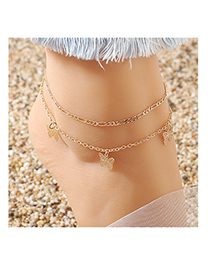 Fashion Golden Little Butterfly Alloy Hollow Anklet Set
