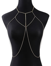 Fashion Golden Cross-studded Alloy Body Chain With Diamonds