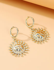 Fashion Gold Color Sun God Embossed Alloy Earrings