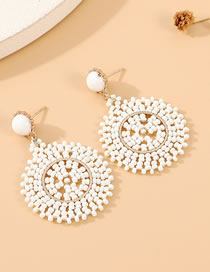 Fashion White Handmade Rice Beads Woven Round Hollow Alloy Earrings