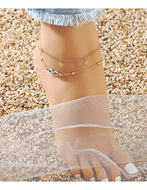 Fashion Golden Heart Alloy Round Bead Chain Multilayer Anklet
