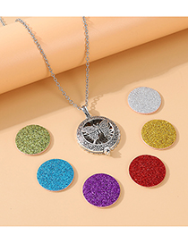 Fashion Silver Butterfly Distressed Embossed Alloy Sweater Chain
