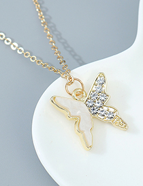Fashion White Butterfly Diamond Resin Alloy Necklace