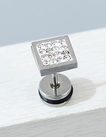 Fashion Silver Single Side Diamond-set Square Alloy Earrings