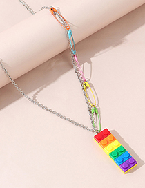 Fashion Color Mixing Resin Pin Building Block Alloy Necklace