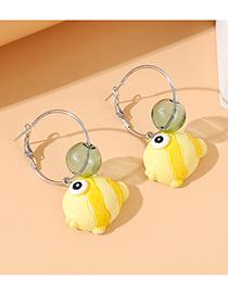 Fashion Yellow Little Goldfish Resin Alloy Earrings
