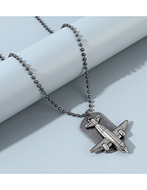 Fashion Silver Small Plane Geometric Bead Chain Mens Necklace