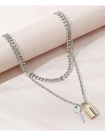 Fashion Color Mixing Lock Key Contrast Color Alloy Multilayer Necklace