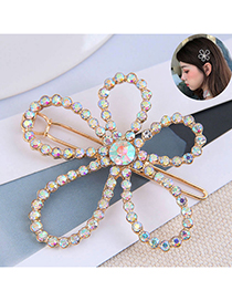 Fashion Gold Color Diamond Flower Alloy One Word Clip