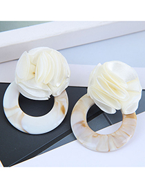 Fashion White Rose Resin Round Earrings