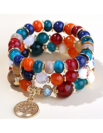 Fashion Color Mixing Alloy Tree Of Life Pendant Crystal Beaded Multilayer Bracelet