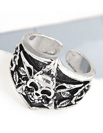Fashion Silver Color Color Skull Embossed Open Ring