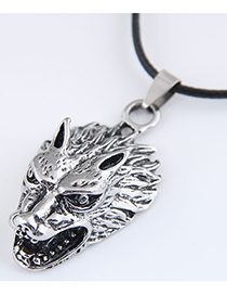Fashion Silver Color Color Wolf Head Embossed Alloy Pendant Necklace