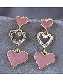 Fashion Pink Love Drop Oil Diamond Alloy Earrings