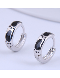 Fashion Silver Color Footprint Drop Oil Alloy Round Earrings