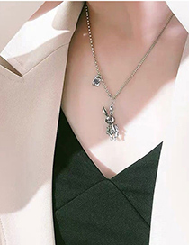 Fashion Silver Color Stainless Steel Rabbit Stitching Round Bead Chain Necklace