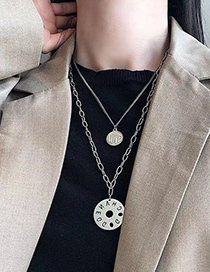 Fashion Silver Color Round Letter Hollow Double Necklace