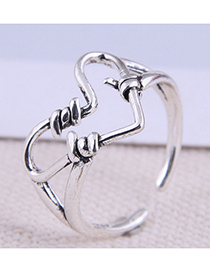 Fashion Silver Color Heart Hollow Open Ring