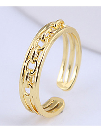 Fashion Gold Color Chain Alloy Hollow Open Ring