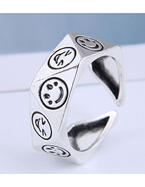 Fashion Silver Color Irregular Smiley Open Ring
