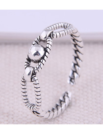 Fashion Silver Round Bead Geometric Hollow Open Ring