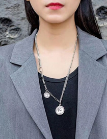 Fashion Silver Ancient Coin Portrait Round Long Necklace