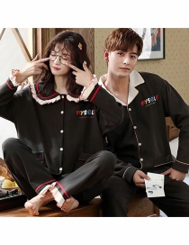 Fashion Alphabet Black Printed Cardigan Cotton Long-sleeved Thin Home Service Suit Couple Pajamas Women