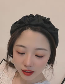 Fashion Black Pleated Wide-brimmed Fabric Solid Color Headband