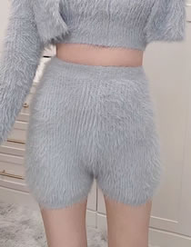 Fashion Gray Solid Color High Waist Knitted Straight Shorts