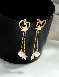 Fashion Gold Color Pearl And Diamond Love Pentagram Alloy Earrings