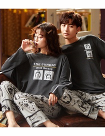 Fashion Puppy Printed Cotton Long-sleeved Pullover Home Service Suit Couple Pajamas Men