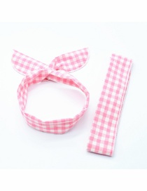 Fashion Pink Plaid Hair Band Check Elastic Cross Elastic Headband