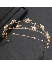 Fashion Gold Color Crystal Diamond Five-pointed Star Alloy Multilayer Headband