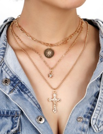 Fashion Gold Color Cross Chain Diamond Round Alloy Multilayer Necklace