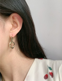 Fashion Gold Color Real Gold Plated Square Hanging Hoop Alloy Earrings