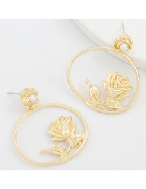 Fashion Gold Color Metal Round Flower Pearl Earrings