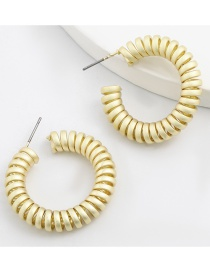 Fashion Gold Color Spring Shaped Round Metal Earrings